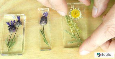 Resultado del encapsulado de resina y flores secas
