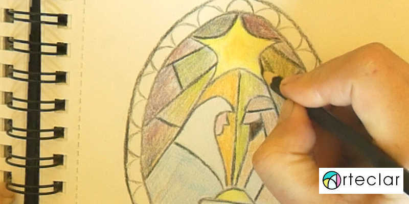 Dibujando el boceto del medallón navideño