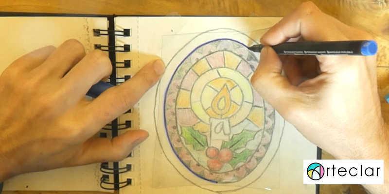 Marcando con rotulador indeleble la vidriera con resinna UV